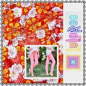 {LuLaRoe} TWEEN leggings, red/orange floral print